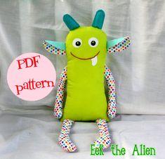 Instant Download Eek the Alien Pattern for 16 by littlebirdlanellc, $8.00