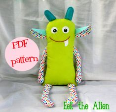 Instant Download Eek the Alien Pattern for 16 by littlebirdlanellc, $8.00