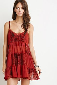 Lacy Crepe Tiered Dress | Forever 21 - 2000052163