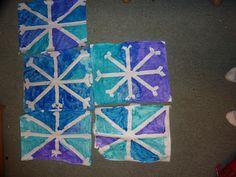 Beautiful snowflake art for kids. A super easy winter craft idea for kids. Snowflakes For Kids, Snowflakes Art, Kindergarten Christmas Crafts, Christmas Art Projects, Christmas Stuff, Winter Crafts For Kids, Art For Kids, Toddler Art, Toddler Crafts