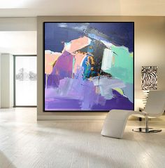 Hand Made Large Acrylic Painting On Canvas, Abstract Painting Canvas Art. Large Wall Art Canvas, Green Purple Orange, Blue, Black.