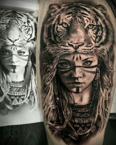 ▷ 1001 ultra cool tiger tattoo ideas for inspiration - tattoo Inspiration Tattoos, Tiger Tattoo, Tattoo Artwork, Tattoo Drawings, Trendy Tattoos, Tattoos For Guys, Wolf Girl Tattoos, Jasmin Tattoo, Tattoo Gesicht