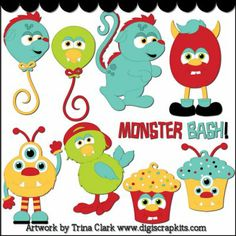 Monster Bash 2 Clip Art : Digital Scrapbook Kits, Cute Clip Art ...