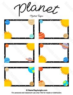 Free printable planet name tags. The template can also be used for creating items like labels and place cards. Download the PDF at http://nametagjungle.com/name-tag/planet/