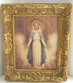 Vintage Highly Ornate Wood Frame Madonna Virgin Mary Miraculous Icon Art Framed