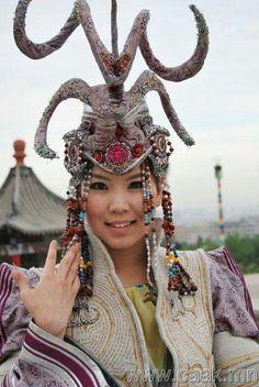 Mongolian woman wearing unusual headdress