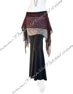 Tribal Fusion Belly Dance Hip Scarf Overskirt: Fire Pixie Festival Skirt