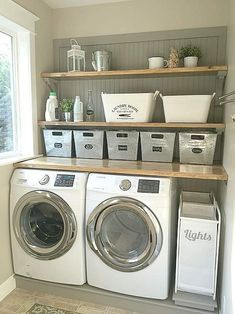 45 Inspiring small laundry room design and decoration ideas . Inspiring little laundry room design and decoration ideas decoration Inspiring small laundry room design and decoration id Laundry Nook, Laundry Room Remodel, Laundry Room Organization, Laundry Room Design, Basement Laundry, Storage Organization, Laundry Room Shelving, Storage Shelves, Storage Buckets