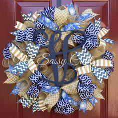Monogram Wreath - Initial Wreath - Burlap Wreath - Everyday Wreath - Navy Blue Wreath - Deco Mesh Wreath - Burlap Deco Mesh Wreath by MsSassyCrafts on Etsy https://www.etsy.com/listing/236680957/monogram-wreath-initial-wreath-burlap