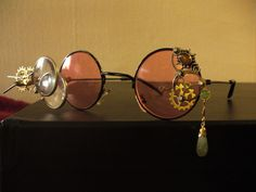 Vintage style, RoseColored Steampunk Glasses.   Kai