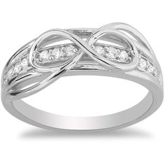 La Preciosa Sterling Silver CZ Detail Infinity Figure 8 Ring (Size 6) ($27) ❤ liked on Polyvore featuring jewelry, rings, white, white ring, cz rings, wide-band rings, sterling silver band rings and band rings