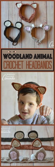 FREE Crochet Pattern: Woodland Animal Ear Crochet Headbands | Perfect for dress-up make believe play! The pattern includes bear, fox and deer instructions.