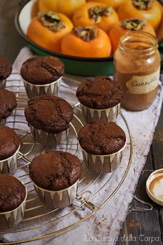 muffin cacao cachi Nutella, Sweet Recipes, Vegan Recipes, Oat Muffins, Grain Foods, Sweet Breakfast, Vegan Sweets, Biscotti, Good Food