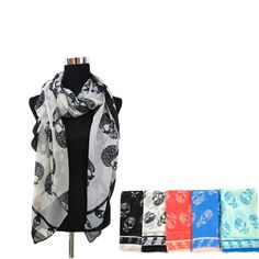 I saw an infinity scarf that looked exactly like this at H&M and I loved it!     Skulls Fashion Scarf $9