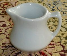 Vintage Shenango Pottery Solid White Cream Pitcher ♥ 2-3/4""