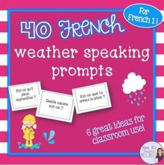Want to get your French students using their weather vocabulary? Need help with a fun way to encourage your intermediate to advanced students to speak more ? This NO PREP activity is always a favorite in my class. Great for beginners!