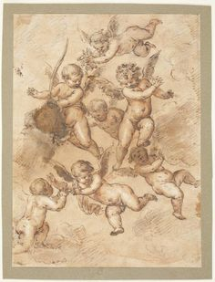 Bartolomeo Passerotti, 1529-1592, Italian, Putti studies, 16th century. Brown wash over black charcoal with white highlights on toned laid paper: 24.3 x 18 cm. Museo del Prado, Madrid. Mannerism.
