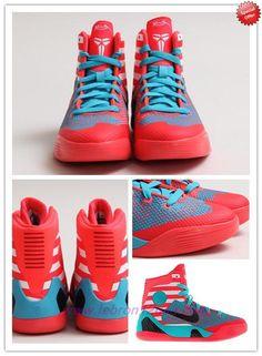"Deals On 636602-600 Laser Crimson/Black-Turquoise Blue Nike Kobe 9 Elite ""Pinstripe Pack"""