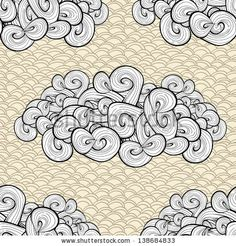 Abstract seamless vector background with clouds. Vintage texture design. Old paper. Retro sky background. (c)AlexTanya.