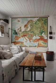 check out the cute map- and how it totally adds character to the room. Love it. We have one just like it in our Provo store!