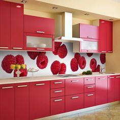 Oh my even love that back splash/wall paper Kitchen Cupboard Designs, Kitchen Room Design, Diy Kitchen Storage, Modern Kitchen Design, Home Decor Kitchen, Interior Design Kitchen, Modern Kitchen Interiors, Modern Kitchen Cabinets, Kitchen Modular