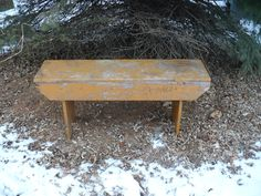 RESERVED Listing --   Primitive  Bench --  Old Chippy  Mustard Paint -- Storage Too. $185.00, via Etsy.