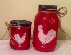 Mason UpCycled Quart Jar. Rooster Decor Country Home Rooster Lover Housewarming Gift Prim Burlap Rooster Jar Country Kitchen Burlap Decor by CraftsByJoyice on Etsy https://www.etsy.com/listing/217941587/mason-upcycled-quart-jar-rooster-decor