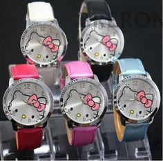 HOT Sale Fashion Cute Cartoon Hello Kitty Watches Women Jelly Children Girls Dress Quartz WristWatch Kids Mix Color //Price: $4.6 & FREE Shipping //