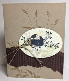 """Love """"birds"""" on cards.  This one uses the Stampin' Up! set called WORLD OF DREAMS...."""