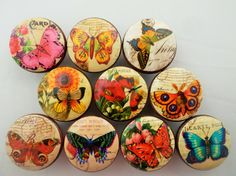 Set of 10 Butterfly Postcard Cabinet Knobs