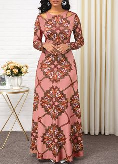 Tribal Print Long Sleeve Cutout Shoulder Maxi Dress Women Clothes For Cheap, Collections, Styles Perfectly Fit You, Never Miss It! Long African Dresses, Latest African Fashion Dresses, African Print Fashion, Women's Fashion Dresses, Casual Dresses, Sexy Dresses, Long Dresses, Dress Long, Latest Dress