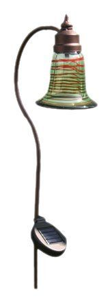 Toland Home Garden 240535 Solar Art Glass Bell Accent Light by Toland Home Garden. $36.95. As the sun sets, the light will turn on automatically and radiate long into the night. At night the solar charged LED softly illuminates lawns, flower beds, potted plants, garden and walkways. In daylight, the solar panel absorbs the sun's natural energy. Features are sturdy, tri prong stake, stylist art glass and a weather resistant brown finish; can be placed anywhere ou...