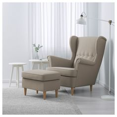 IKEA - STRANDMON, Armchair, Skiftebo light beige, You can really loosen up and relax in comfort because the high back on this chair provides extra support for your neck. Read about the terms in the limited warranty brochure. Chaise Ikea, Ikea Chair, Recliner Chairs, Ikea Furniture, Strandmon Ikea, Poltrona Bergere, Living Room Chairs, Living Room Decor, Chairs