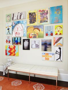 Kid's art makes the best art! Create a gallery using art that your child created at school or at home. It makes for a colorful, fun wall.   -- Kirsten Grove, interior stylist and blogger   /