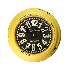 Buy Adeco Yellow Iron Retro Vintage-Inspired Circular Wall Hanging Clock - Topvintagestyle.com ✓ FREE DELIVERY possible on eligible purchases