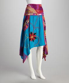 Take a look at this Aqua & Red Handkerchief Skirt - Women by Rising International on #zulily today!