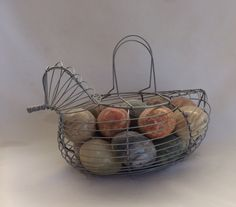 Vintage Chicken Shaped Wire Egg Basket by ContemporaryVintage