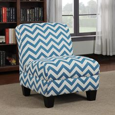 Gina Zig Zag Armless Accent Chair, Multiple Colors
