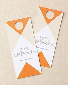 Welcome door tags - cute idea to put event info on the back!