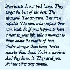 This isn't true, honestly. What is true is that they pick the kindest, the most empathetic and those who are most likely to sacrifice themselves when they care about someone else. They pick those with best hearts -- and that's important to understand. Narcissistic People, Narcissistic Behavior, Narcissistic Abuse Recovery, Narcissistic Sociopath, Narcissistic Personality Disorder, Psychopath Sociopath, Personality Disorder Quotes, Relationship With A Narcissist, Toxic Relationships