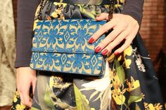 love the contrast of prints and color in this photo {alice + olivia fall}