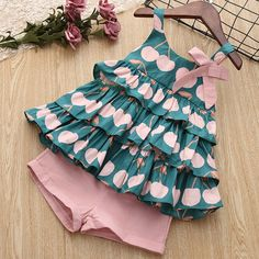 New Brand 2019 Girls Summer Clothes Set Cake Shirt And Pink Short Pants Cotton Lovely Cute Sets For Children And Kids Sundress-in Clothing Sets from Mother & Kids - Clothes and Crafts Girls Summer Outfits, Dresses Kids Girl, Kids Outfits, Summer Clothes, Girls Pants, Toddler Outfits, Girls Frock Design, Baby Dress Design, Baby Frocks Designs