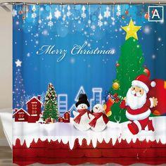 Shower Curtain Santa Claus Peeking Bathroom Waterproof Polyester Fabric