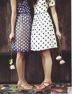 Friends, flowers, and perfect polka dot dresses.
