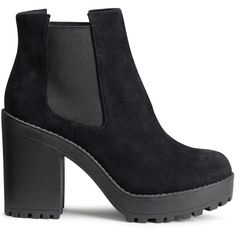 H&M Suede platform boots (€34) ❤ liked on Polyvore featuring shoes, boots, ankle booties, ankle boots, black, high heel booties, short black boots, platform booties, black suede booties and black booties