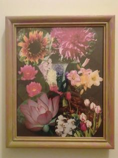 Hand Painted, Pink and Green, Wood 8 1/2 x 10 Spring Picture Frame