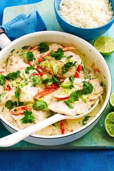 Coconut and lime fish - Kokos-Limetten-Fisch After a portion with onions and you feel like a fish in the water – because the iodine from the brings the metabolism on Trot. Delicious it& on top of that! Lime Fish Recipes, Shrimp Recipes, Asian Recipes, Snack Recipes, Ethnic Recipes, Cooking Recipes, Healthy Snacks, Healthy Recipes, Eating Healthy