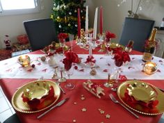 1000 images about no l rouge et or on pinterest rouge - Decoration table de noel rouge et or ...