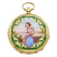 Žlutého zlata a smalt Key-Wind Watch Depicting Dívka s štěně circa 1840