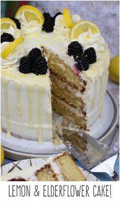 Lemon & Elderflower Cake!! A Three Layer Lemon & Elderflower Cake with an Elderflower Drizzle, and Elderflower Buttercream.